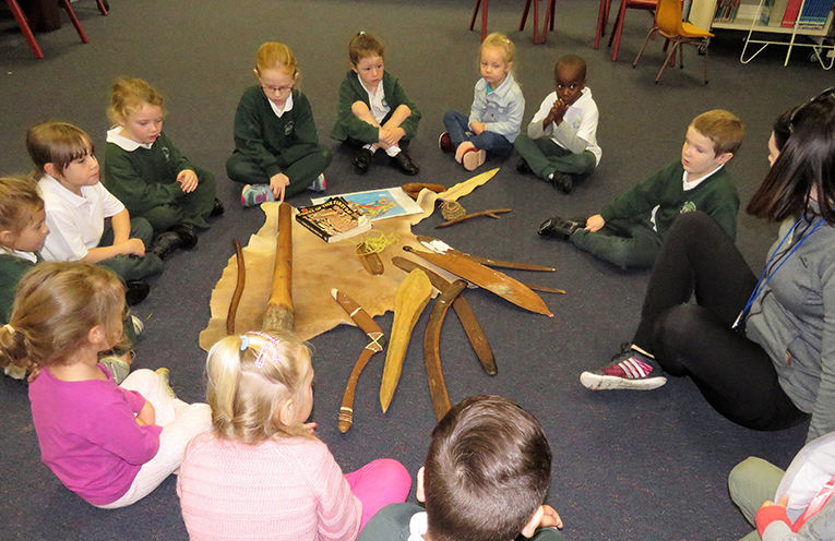 Students learn about the significance of Aboriginal artefacts at St Joseph's.