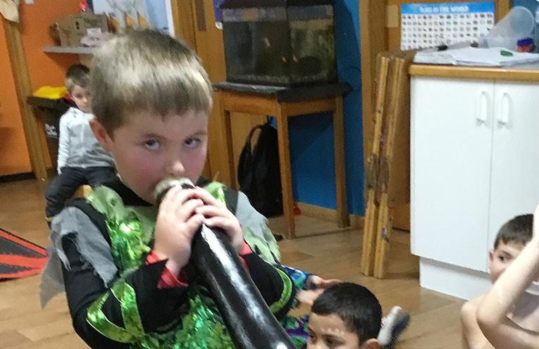 Children enjoyed learning about the didgeridoo at Bulahdelah Preschool.