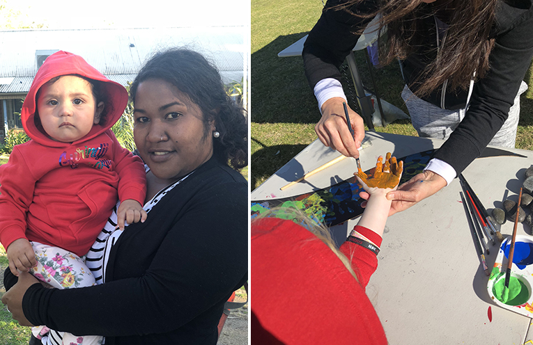 Ka Oa and Nay Nay getting into the spirit of NAIDOC week. (left) Children participated in a hand print collective artwork. (right)