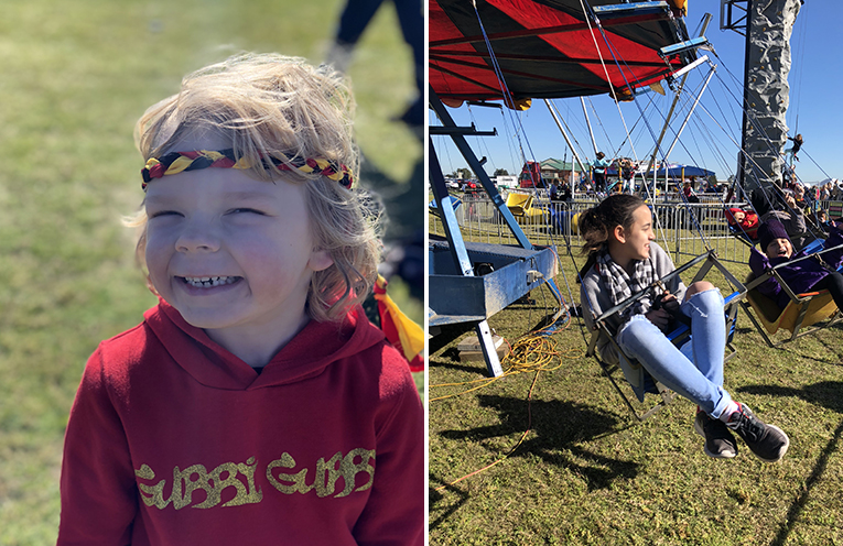 Xavier is proud of his family and their culture. (left) Rides at the Worimi family fun day were in high demand with the kids. (right)
