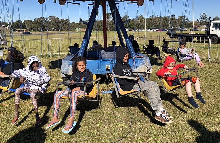 The chair ride was a big hit with the kids at the Worimi family fun day.