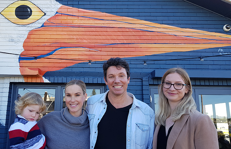 PELICAN NAMING CELEBRATION: Flyn, Emily and Ben Hanson with artist Tayla Maree Neilson.