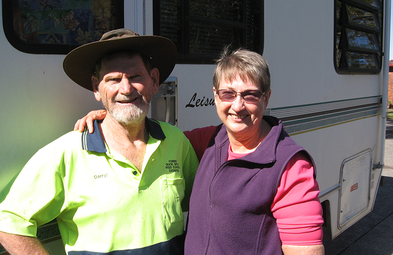 Helen and Darry returning from one of their outback adventures.