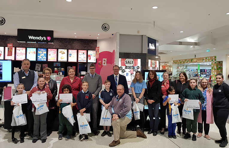 PBL winners at MarketPlace Raymond Terrace with their school representatives.