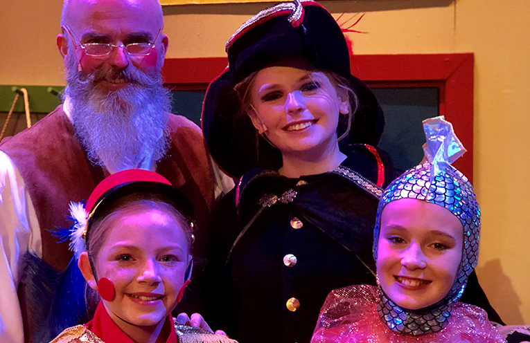 Steve Bernasconi, Tahlia Goodwin, Aleisha Townsend and Skyla Conlon are performing exciting roles in Pinocchio at the Young People's Theatre in Hamilton.