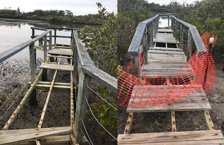 WINDA WOPPA: Damaged Viewing Platform. (left) WINDA WOPPA: Damaged viewing platform by suspected vandals. (right)