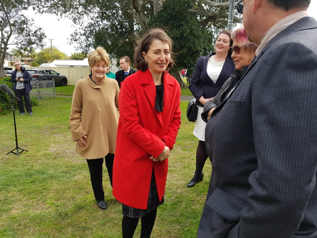 JUNE ANNOUNCEMENT IN TEA GARDENS: Catherine Cusack and Premier Gladys Berejiklian.