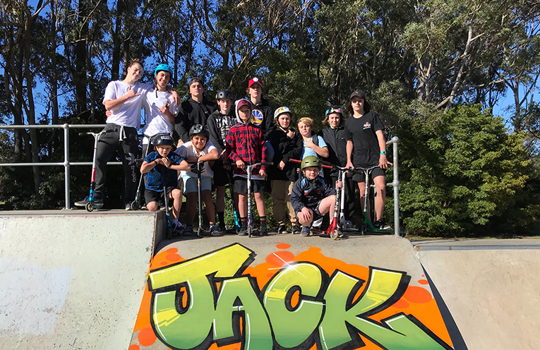 Some of the attendees who created Jack's 'Ride for Murphy' Mural.