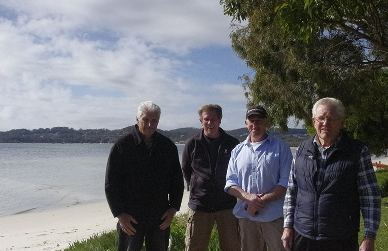 Nigel Dique, Roger Yeo, Mark Clifton and Daryl Dawson of Port Stephens Eco-network want to see an end to plastic shopping bags as plastic as it breaks down threatens our fragile coastal environment.  Photo by Marian Sampson.