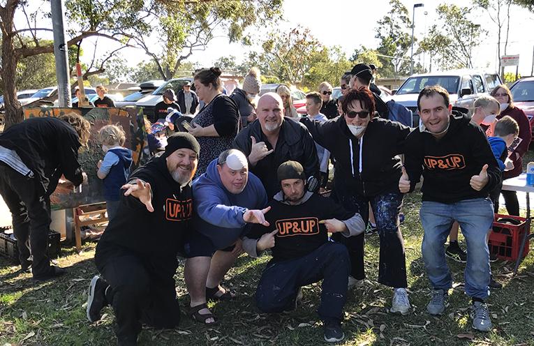 Shane, Jamie, Chris, Leigh and MC Ezza, celebrating at Medowie's Snak N Rap.