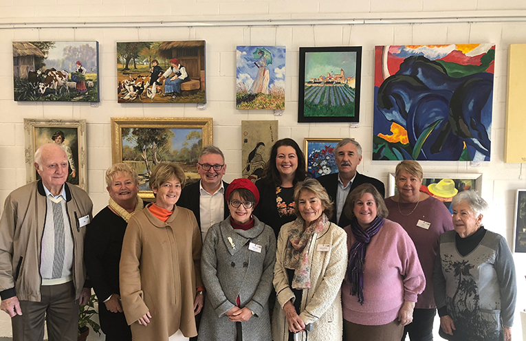 Tilligerry Arts group members with Catherine Cusack MLC and Port Stephens Councils representatives.