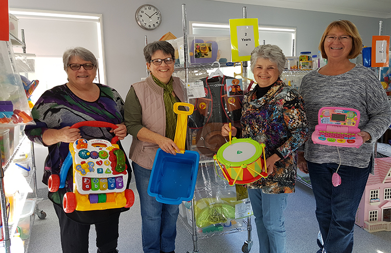 TOY LIBRARY VOLUNTEERS: Leonie Keipert, Jenny Braily, Lissa Macilquham and Carol Thwaites.