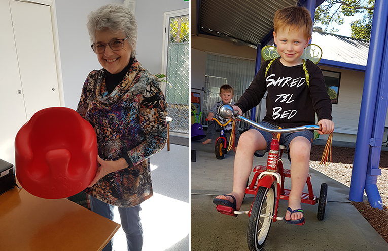 TOY LIBRARY; Lissa Macilquham with a baby chair. (left) TOY LIBRARY BORROWER: Lewie and brother Dylan love their borrowed bikes. (right)