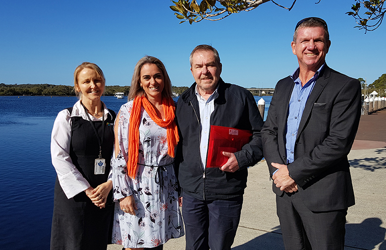 MIDCOAST ECONOMIC DEVELOPMENT TEAM: Belinda Armstrong, Robyn Brennan, Myall Chamber of Commerce' Graham Lang and Dennis Christensen.