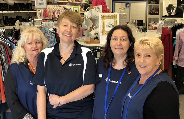 Vinnies volunteers Dianne, Helen and Janice with Shop President Beatrix in the Medowie store.