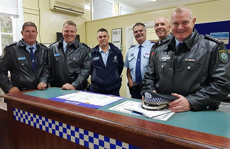 PREMIER'S VISIT: Senior Constable Dave Coyle, Constable Trent Moffat, Senior Constable Rob Wylie, Snr Sergeant Geoff Farmer, Inspector Alan Janson and Superintendent Craig Jackson.
