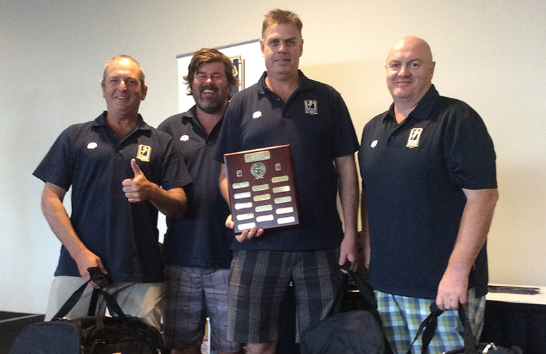The winners of the Golf tournament; Jason Guy, Richard Harris, David Betell and Peter Bell.