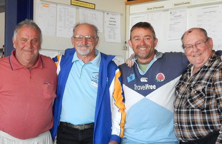 """Winners of the Wednesday Triples competition, the """"four"""" of Greg Smith, Col Saillard, Dave Perry and Paul Bell."""