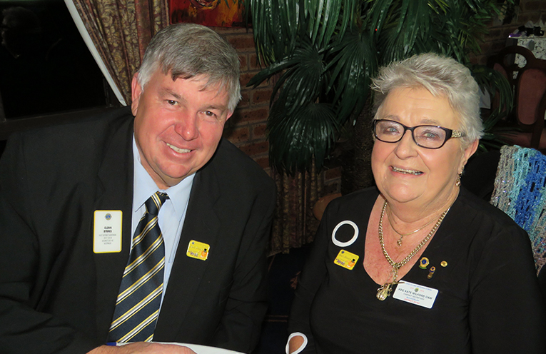 District Governor Glenn Byrnes and past Governor Kate Milford OAM at the changeover dinner.