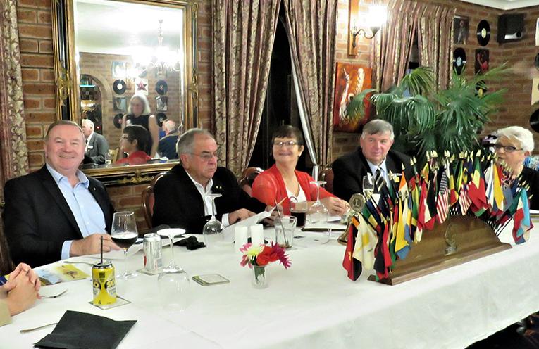 Myall Lakes MP Stephen Bromhead, President Arthur Baker, Lion Pat Baker, District Governor Glenn Byrnes and past Governor Kate Milford OAM.