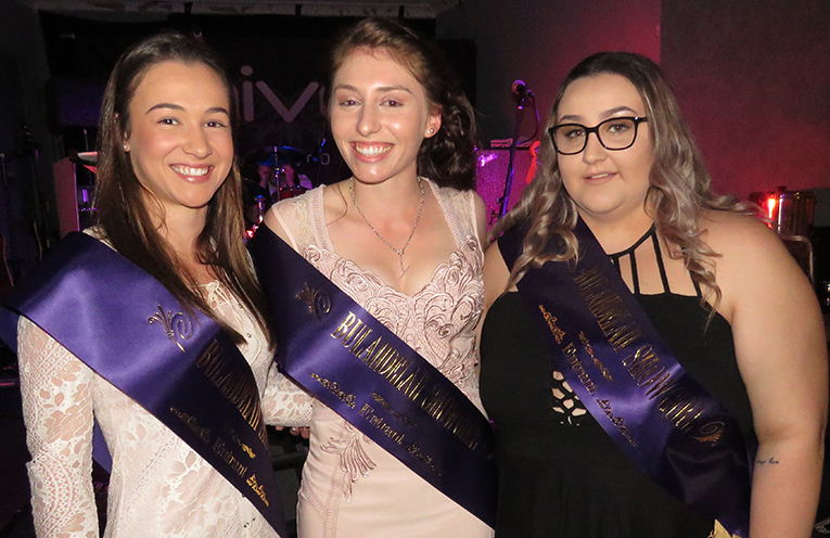 Bulahdelah Showgirl entrants Ellie Gooch, Lauren Shultz and Keahne Hurtado.