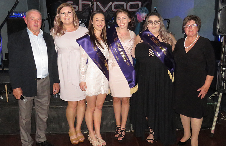 Show Society President Gary Gooch, reigning Showgirl Richelle Levey, 2018 Showgirl Entrants Ellie Gooch, Lauren Shultz and Keahne Hurtado and Showgirl Coordinator Di Stidoff.