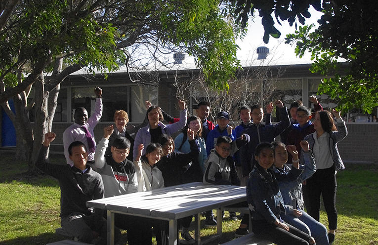 The Chinese Exchange Students with Tomaree High Schools Principal Sue Xenos and Maths Teacher Adewale Kareem, Coordinators Wen Sun and Yock Hu and teachers Miss Chen and Miss Liu. Photo by Marian Sampson.