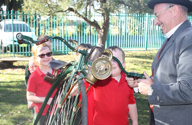 Bobs Farm students instead a vintage unicycle.