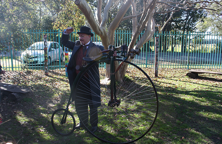 Sanjex Seratti with his unicycle at Bobs Farm Public School as they prepare for their centenary celebrations.