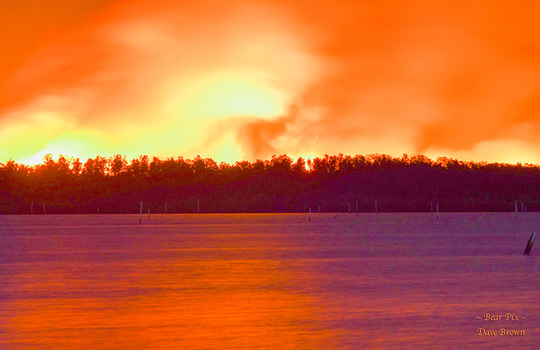 The fire could be seen from all over Port Stephens. Photo by Dave Brown 'Bear Pix'.