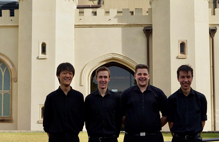 CONSERVATORIUM MUSICIANS: Samuel Dong, Tom Spencer, Brian Rae and Angus Key.