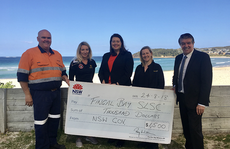 Fingal Bay Surf Life Saving Club were a recipient of a volunteering grant for $1500 from Minister Ray William, pictured are Rodney Limn, Tanya squires, Liberal candidate for Port Stephens, and Port Stephens Councillor Jaimie Abbott, Vanessa Thompson and Minister Ray Williams.