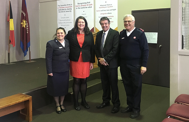 The Salvation Army's Auxiliary Lieutenant Tracy Iles, Liberal Candidate for Port Stephens Jaimie Abbott and Minister for Volunteers Ray Williams MP and Envoy of the Salvation Army Ron Peterson.