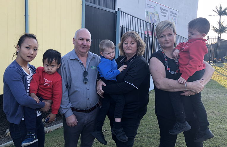 Deborah Benseman, Cr Paul Le Mottee, Centre Director Michelle Curtin and Sally Rolfe with Williamtown Preschool students Fletcher, Saxon and Dominic.