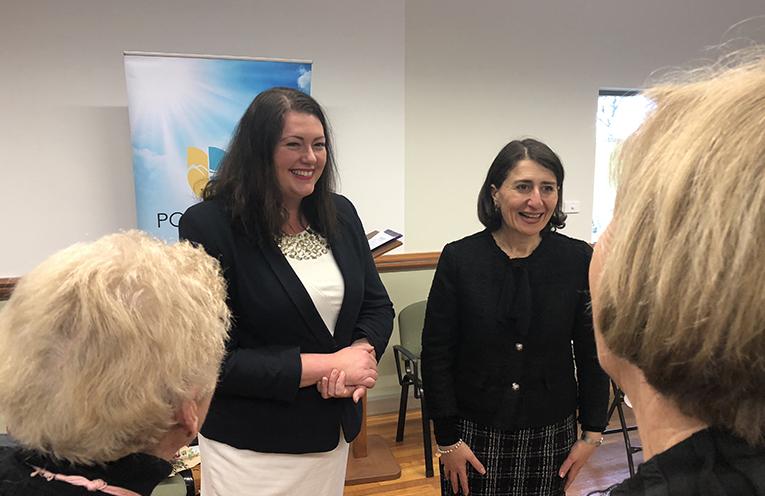 Jaimie Abbott with NSW Premier Gladys Berejiklian.