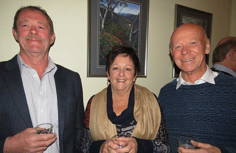 Host Andrew Williams from Topi Open Range with Maureen West and MidCoast Mayor David West.
