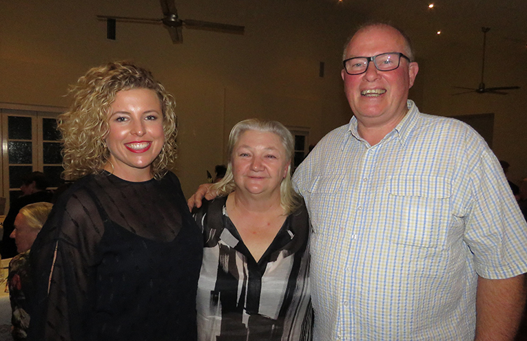 Guest Speaker Shannon Harley with organisers Sue Williams and Dale Bradshaw.