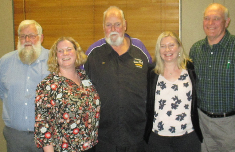 Motorama President Ian Jones flanked by John Hunter's Kristy McCarthy and Carol Doherty with Vice President Geoff Camm and Secretary Geoff Nutt.