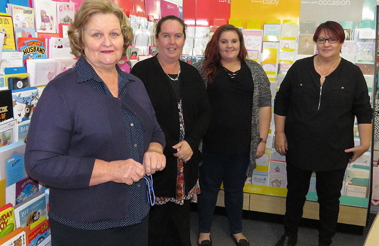Retiring newsagent Sue Chick, new owners Stacey Brown and Maddie Harvey with staff member Pauline Gregory.