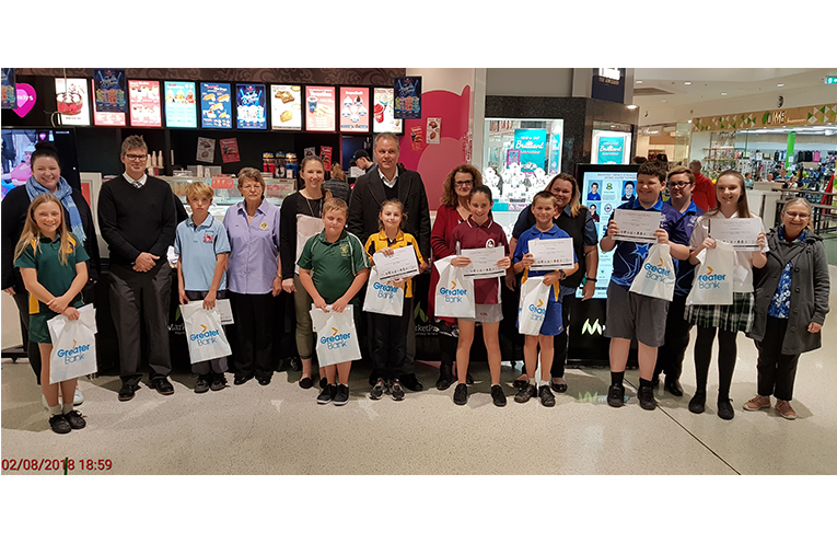 This week's award winners and their respective school representatives with Inga Kasch, Raymond Terrace Lions Club Youth Chair.