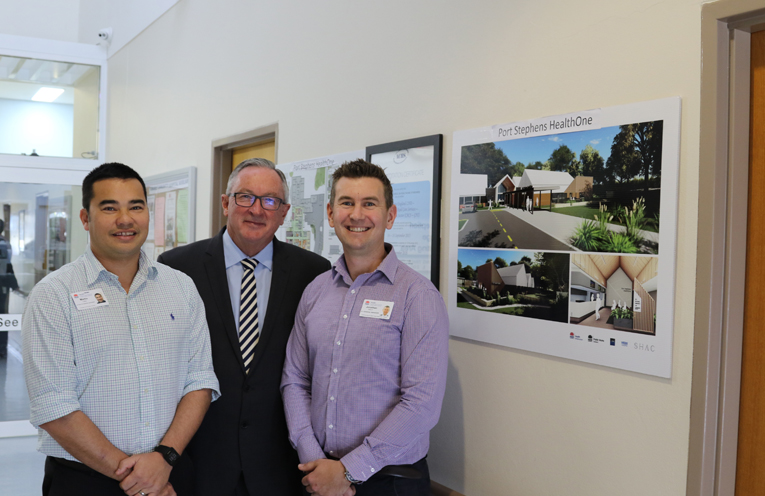 Martin Lau, Minister Brad Hazzard and Jonathan Holt at Tomaree Hospital.