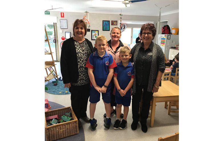 Medowie Community Preschool Staff Michele, Leigh and Monica, with ex-students Seth and Degan.