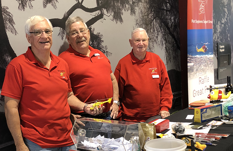 Rob Wilbow, Dave Lovell, Des Cobb at Raymond Terrace raising funds for the Westpac Rescue Helicopter.