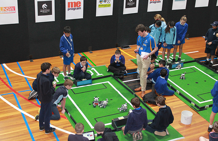 Students competing at RoboCup 2018.