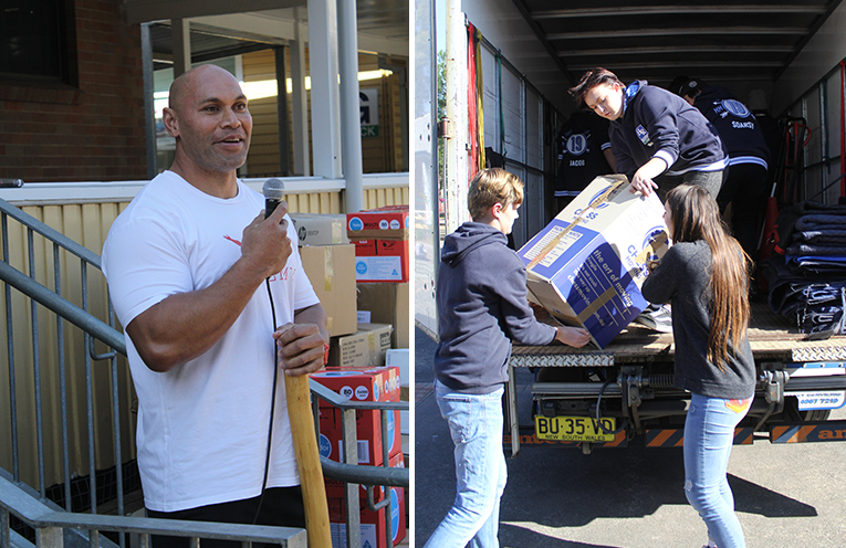 Sione Finefeuiaki addresses the students before the truck of collected goods is packed.  (left) Students packing the truck bound for the Kingdom of Tonga. (right)