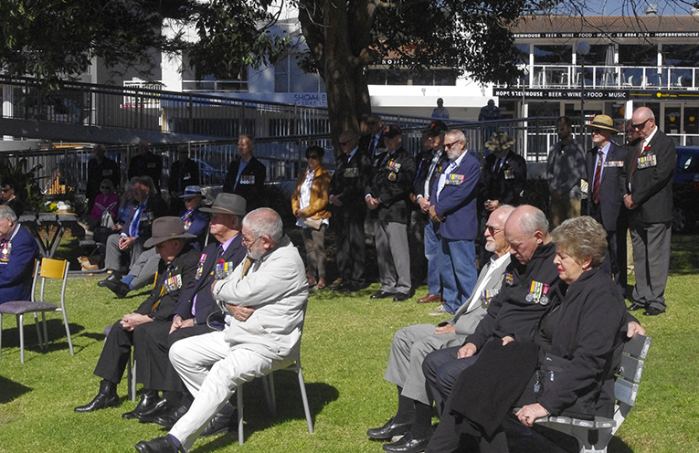 Crowd gathered to commemorate Vietnam Veterans Day 2018 at Nelson Bay. Photo by Marian Sampson.
