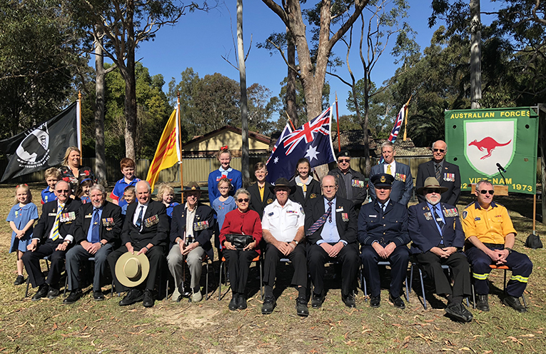 Special guests, returned service men and women, and school representatives at Medowie Vietnam Veterans Day Service.