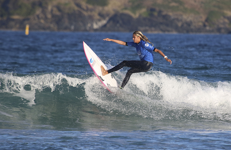 Ellie Clayton-Brown runner-up in the Under 19 Girls All-Stars Surfing event at Coffs Harbour this week. Photo courtesy of Surfing NSW.