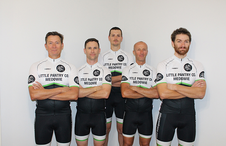 Dean Megahey, Ben Brawn, Neil Upton, Peter Ewen and Tom O'Neil from The Little Pantry Co. Racing Team.