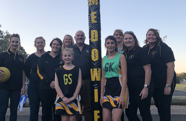 Representatives from Medowie Netball Club with Deputy Mayor Cr Chris Doohan, who opened the Courts officially on Wednesday.